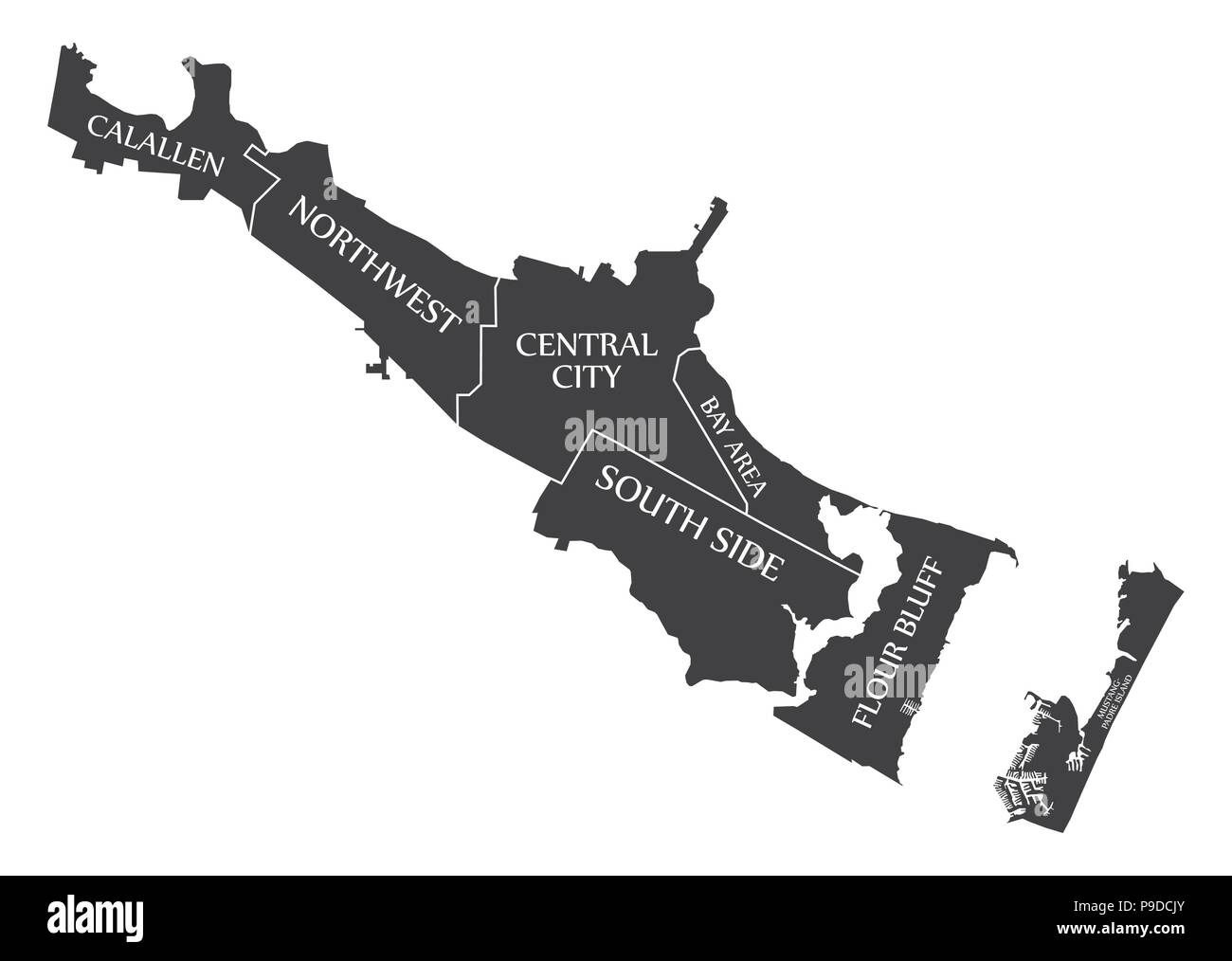 Corpus Christi Texas city map USA labelled black illustration - Stock Vector