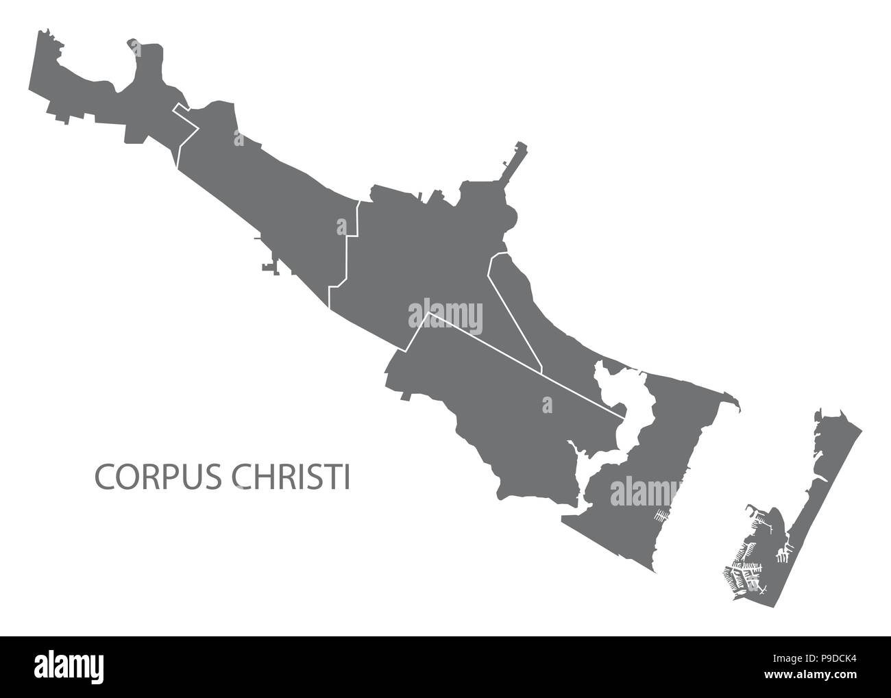 Corpus Christi Texas city map with neighborhoods grey illustration silhouette shape - Stock Image