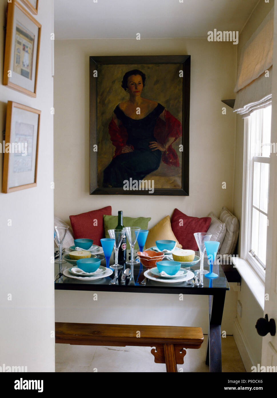 Table set for lunch in small studio apartment dining room ...