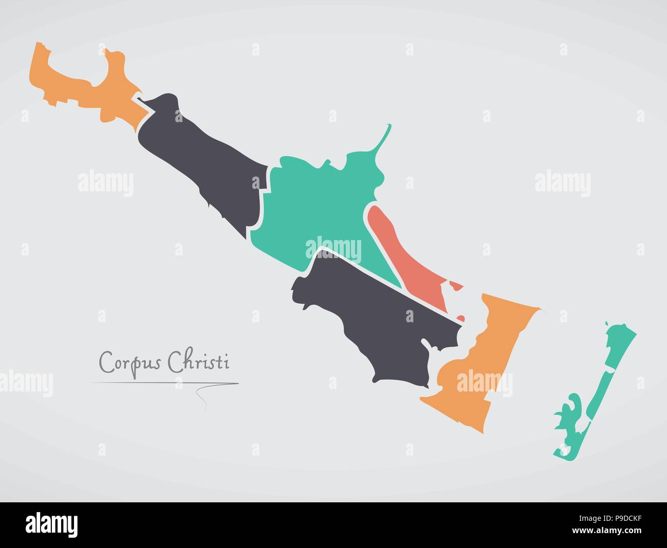Corpus Christi Texas Map with neighborhoods and modern round shapes - Stock Vector