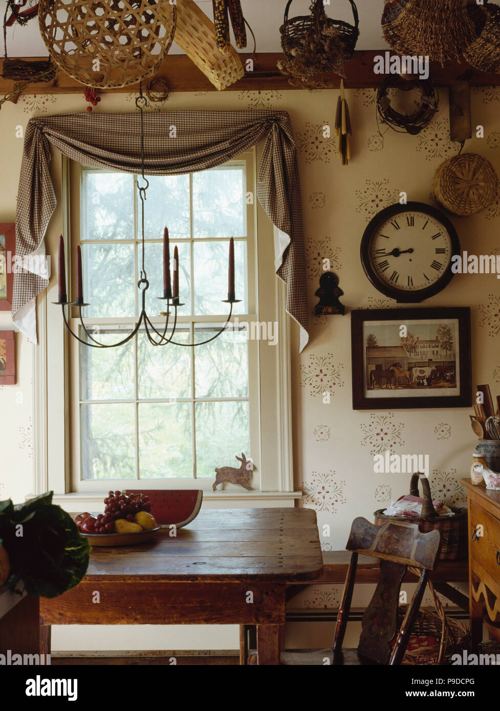 Magnificent Checked Fabric Draped Above Window In American Colonial Download Free Architecture Designs Rallybritishbridgeorg