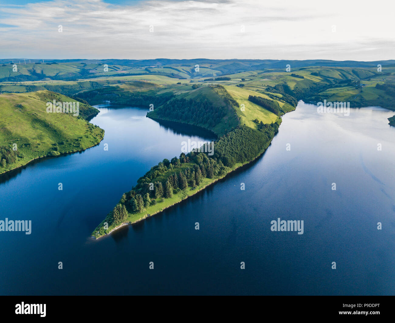 An aerial landscape of the lake near the Llyn Clywedog Dam, Llanidloes, Wales, UK - Stock Image