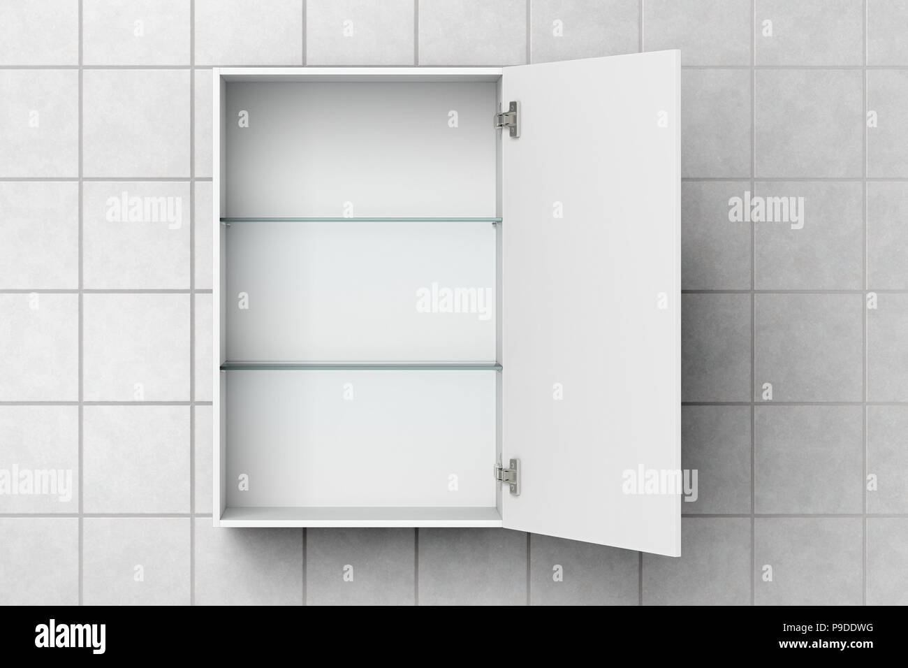 Open empty white bathroom cabinet isolated on white tiled wall with ...