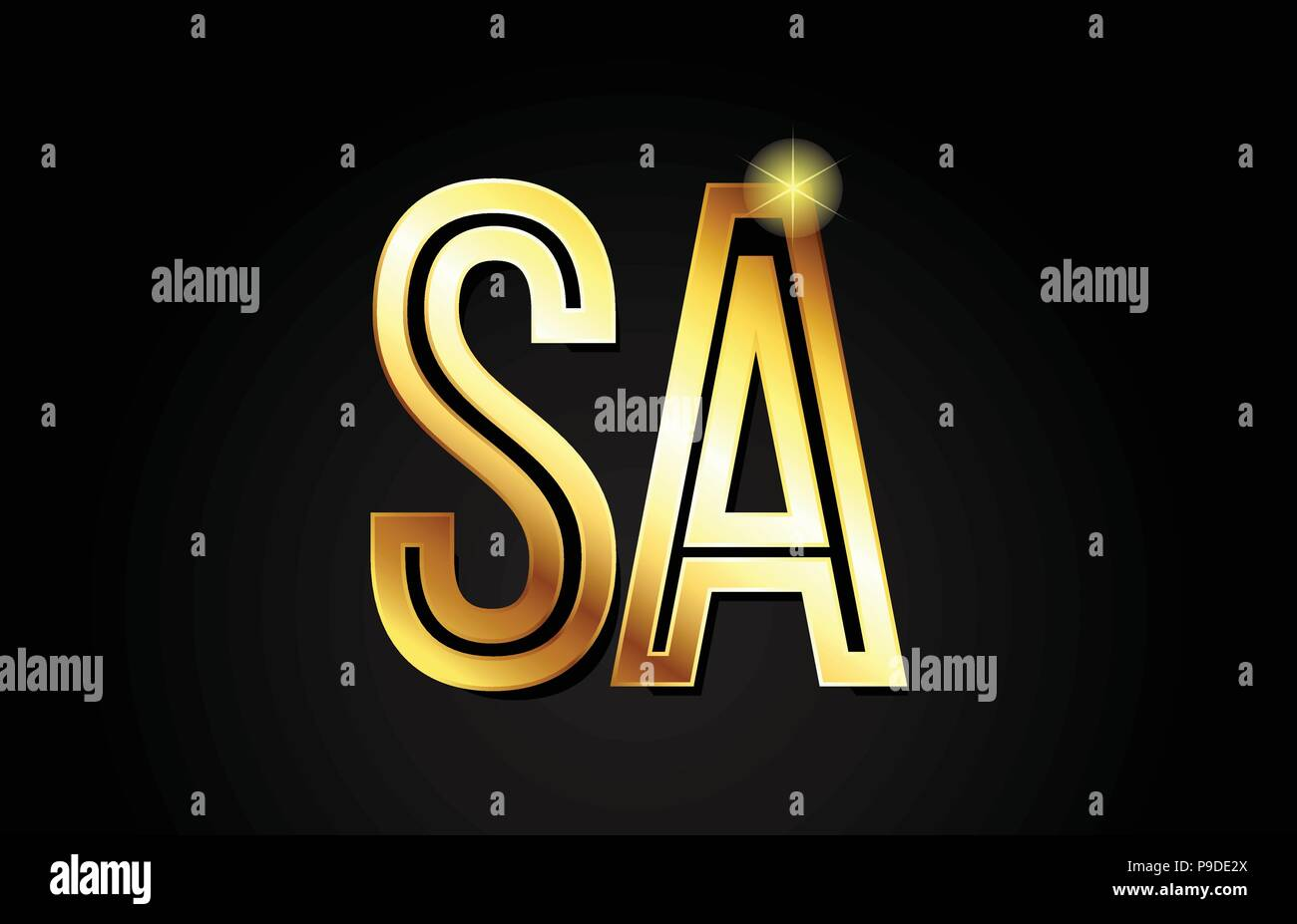 gold alphabet letter sa s a logo combination design suitable for a company or business - Stock Vector