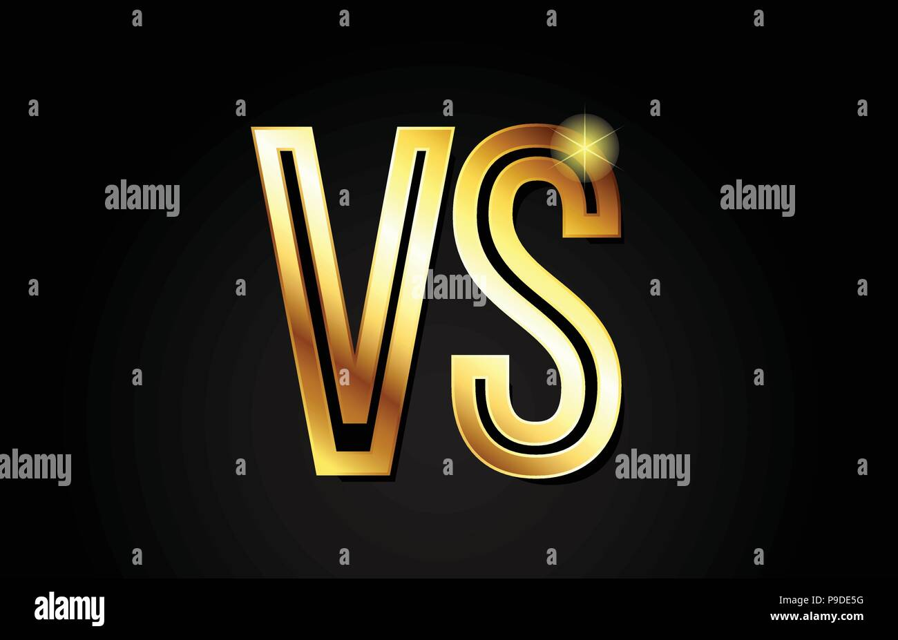 gold alphabet letter vs v s logo combination design suitable for a company or business - Stock Vector