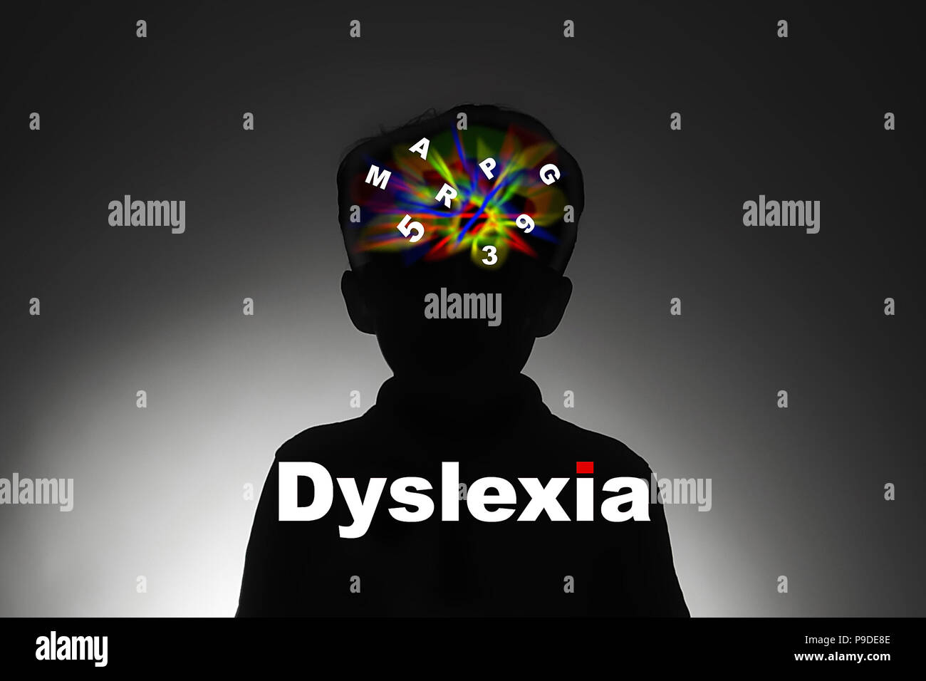 Dyslexia,  difficulty reading, writing and spelling. - Stock Image