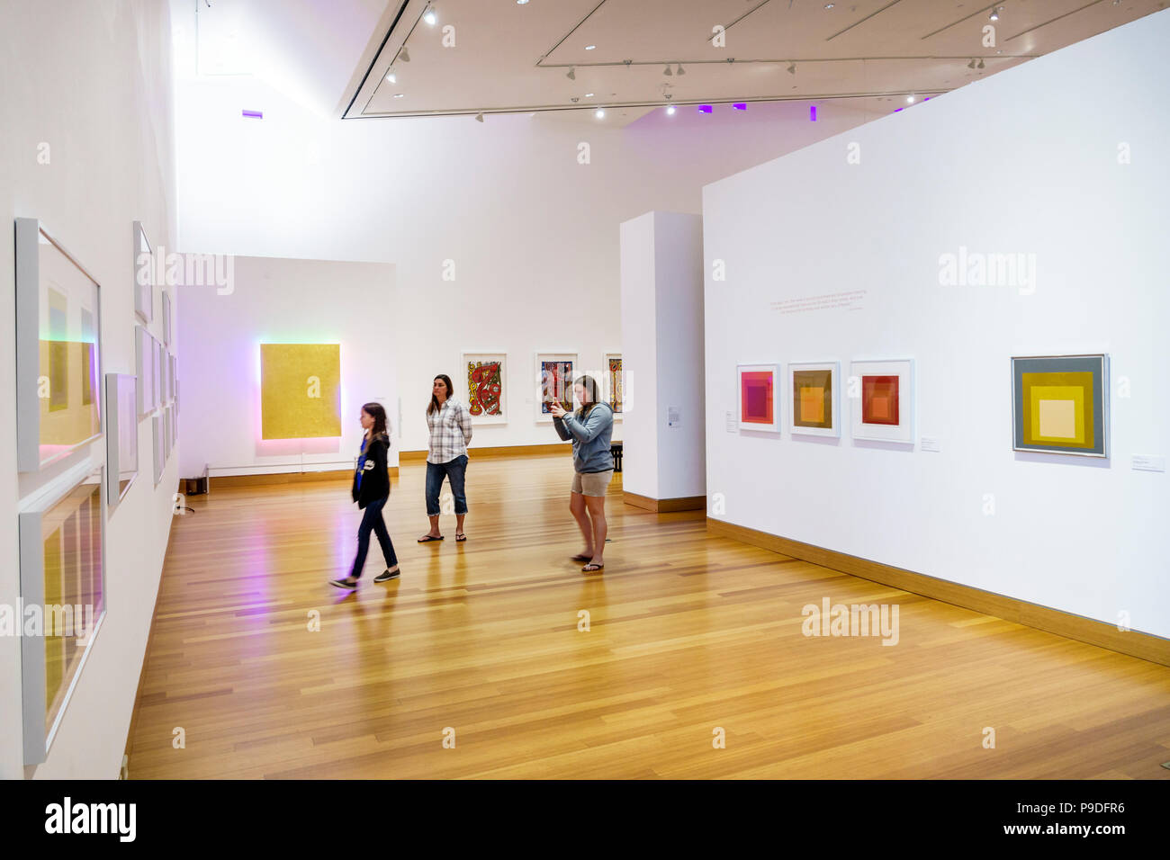 Florida Gainesville University of Florida Samuel P. Harn Museum of Art gallery Poetic and Political exhibition paintings Josef Albers woman girl looki - Stock Image