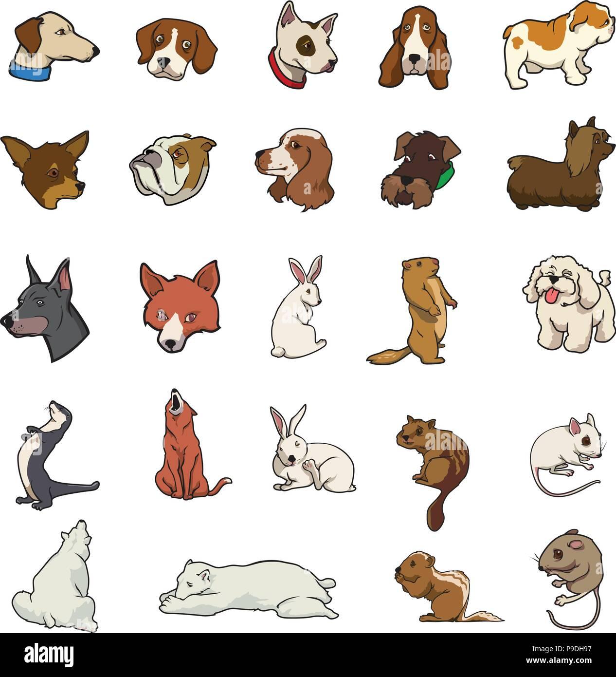 cartoon vector random animal collection - Stock Image