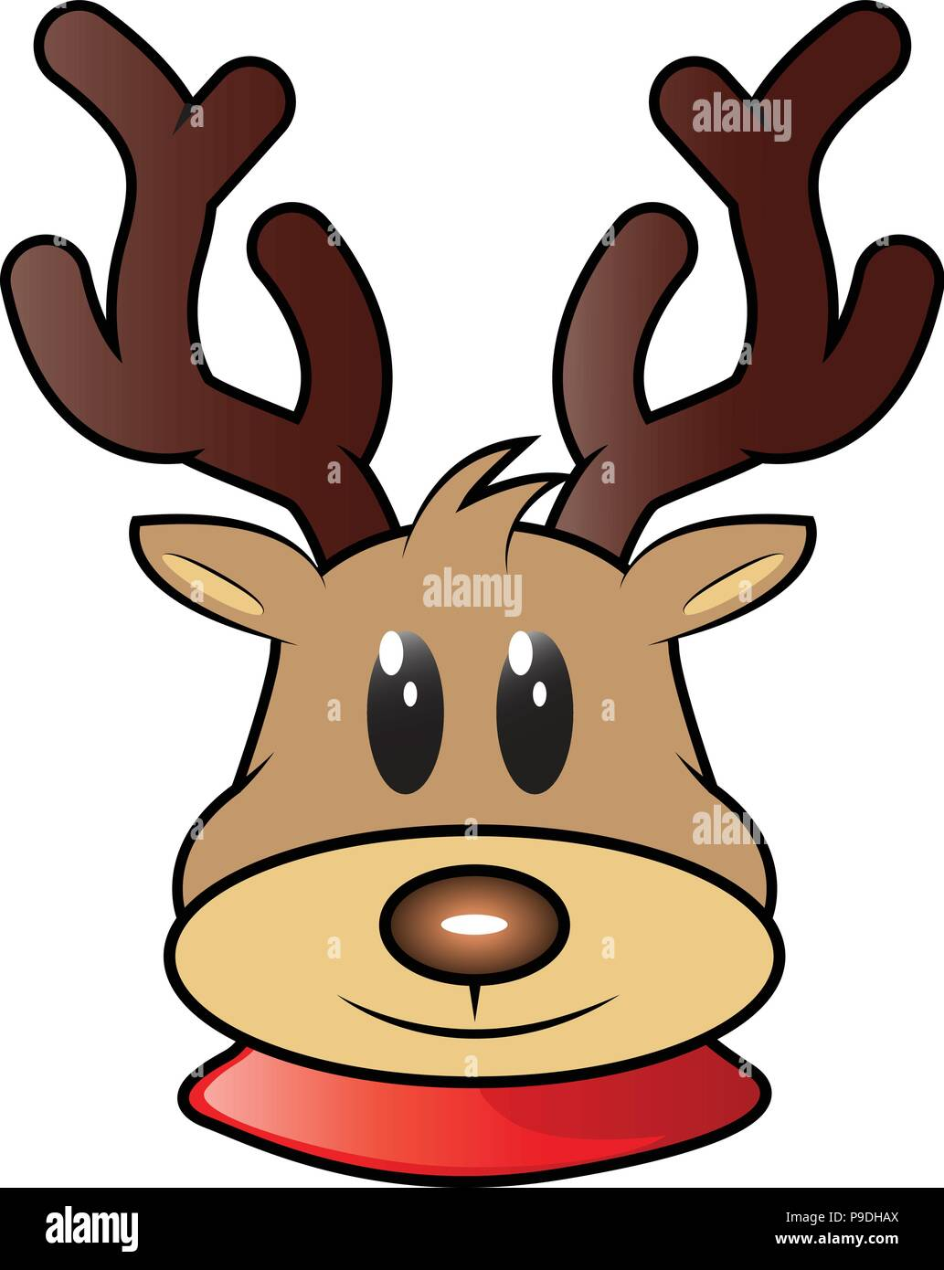 cartoon vector illustration of Rudolph the Red Nose ...