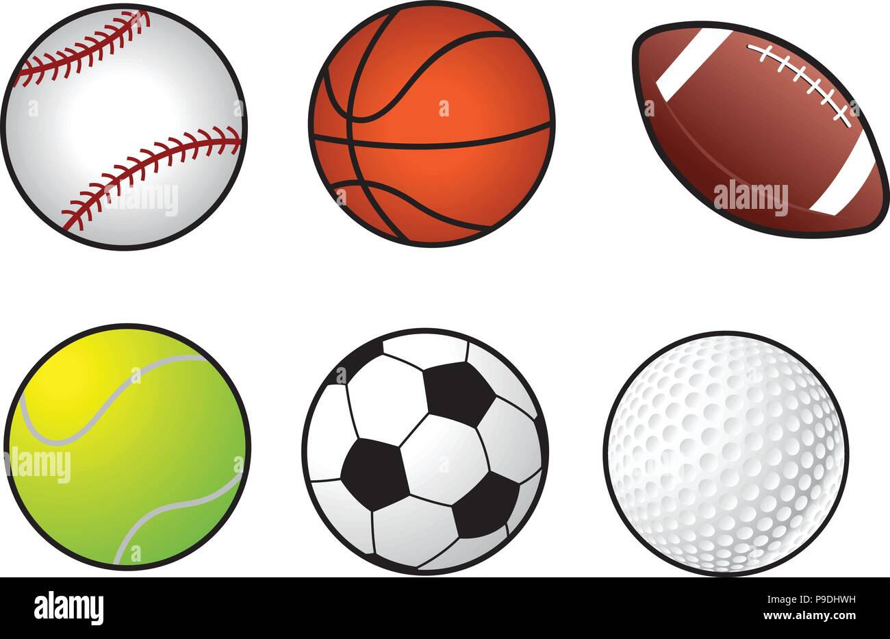 Cartoon Vector Illustration Of A Sports Balls Stock Vector Image Art Alamy