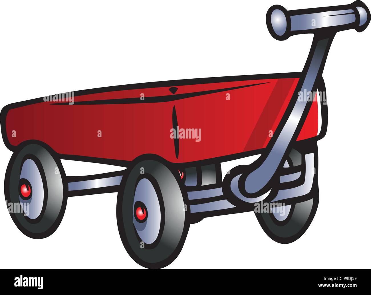 Cartoon Vector Illustration Of A Red Wagon Stock Vector Image Art Alamy
