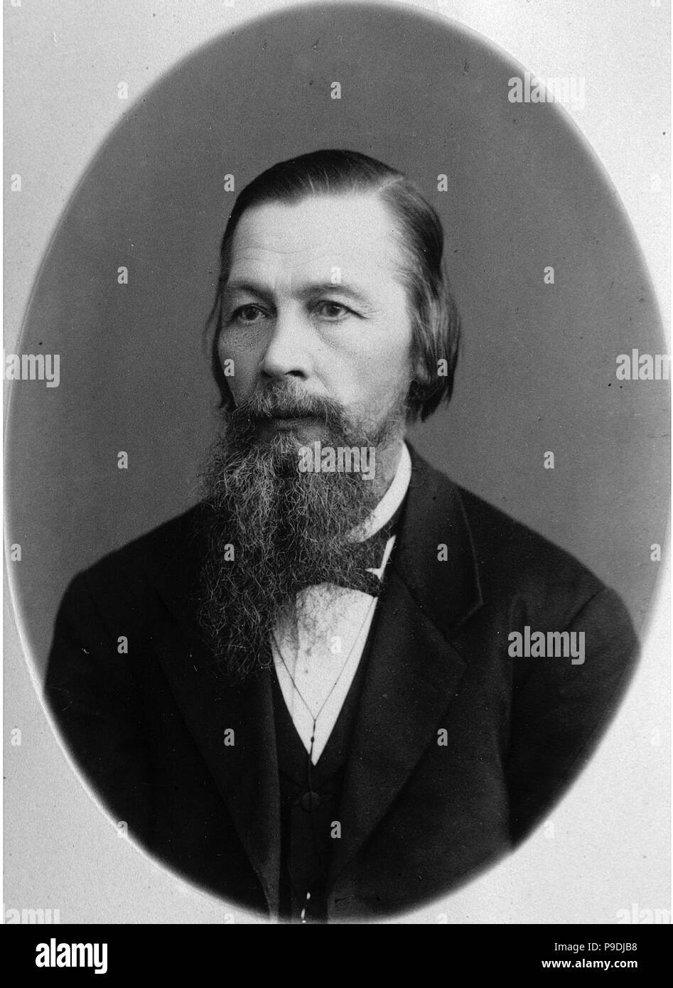 Portrait of the bibliogrpher, publisher and journalist Pyotr A. Yefremov (1830-1907). Museum: State Museum of A. S. Pushkin, Moscow. - Stock Image