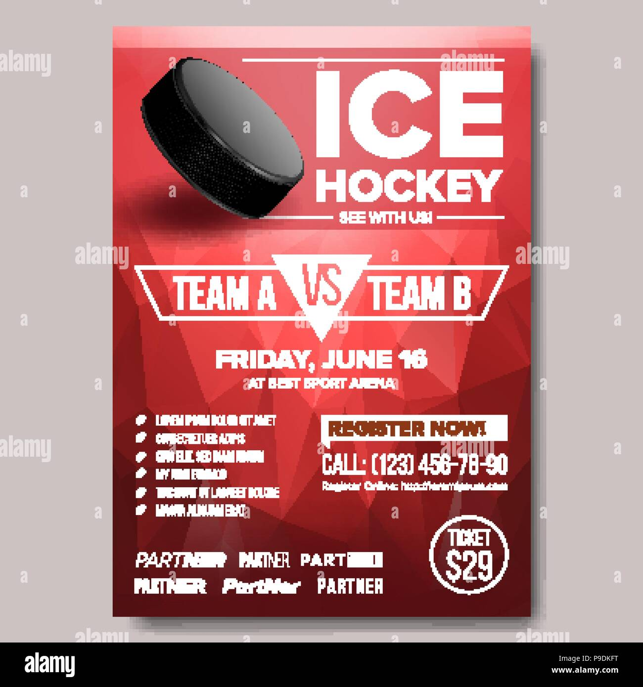 Ice Hockey Poster Vector Ice Hockey Puck Vertical Design For Sport