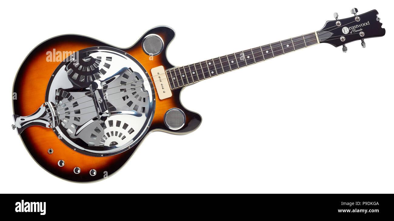 Tenor resonator guitar by Eastwood of Canada - Stock Image