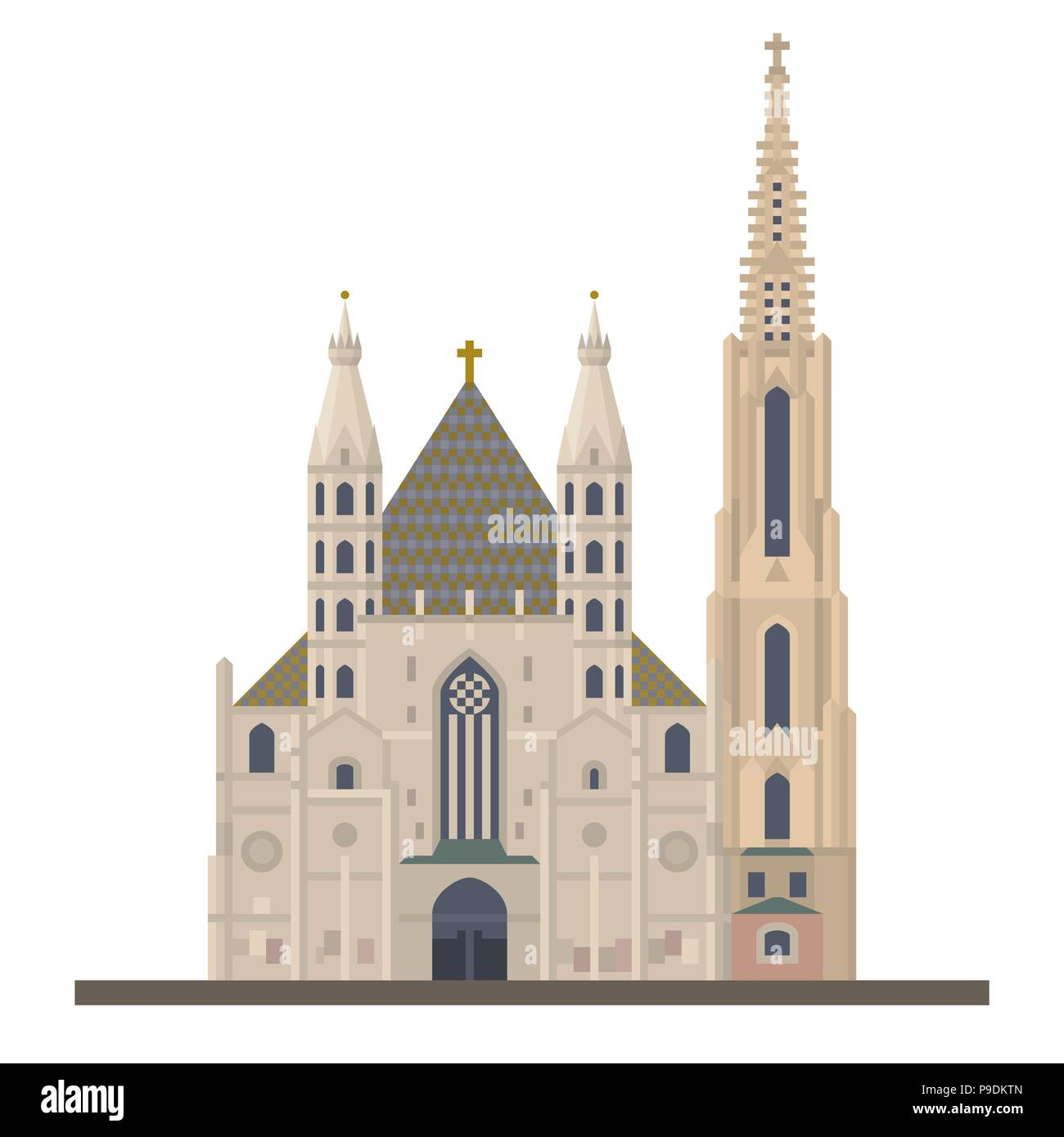 Flat design vector icon of Saint Stephens Cathedral or Stephansdom at Vienna, Austria - Stock Image