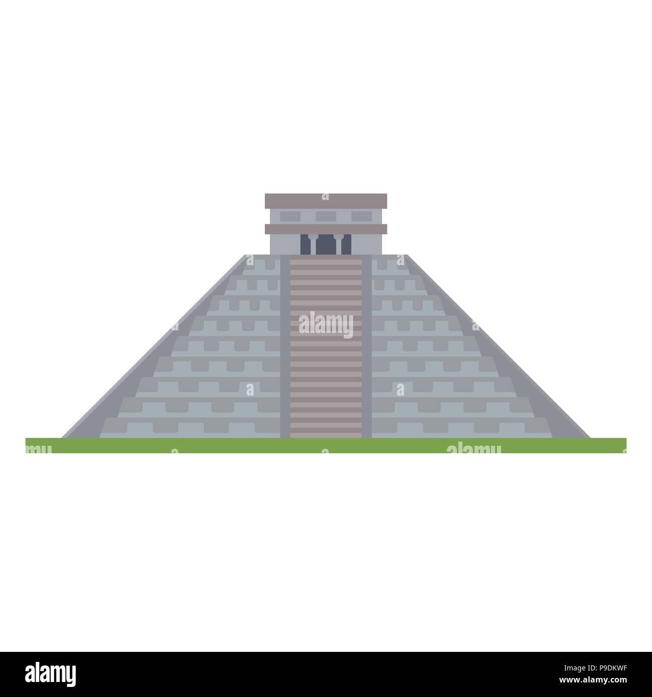 Flat design isolated vector icon of kukulkan pyramid at Chichen Itza, Yucatan, Mexico - Stock Image