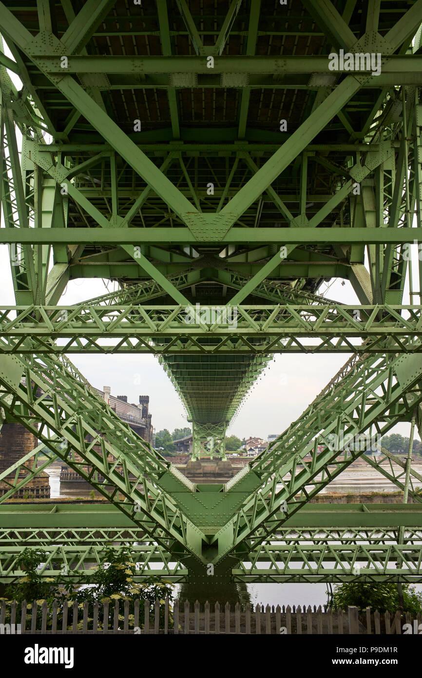 Underneath the Silver Jubilee roadbridge at Runcorn in Cheshire looking towards Widnes - Stock Image
