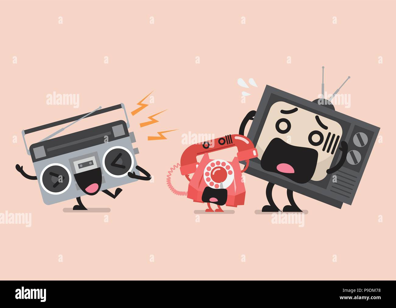Singing Radio Character Annoying Telephone And Television Funny