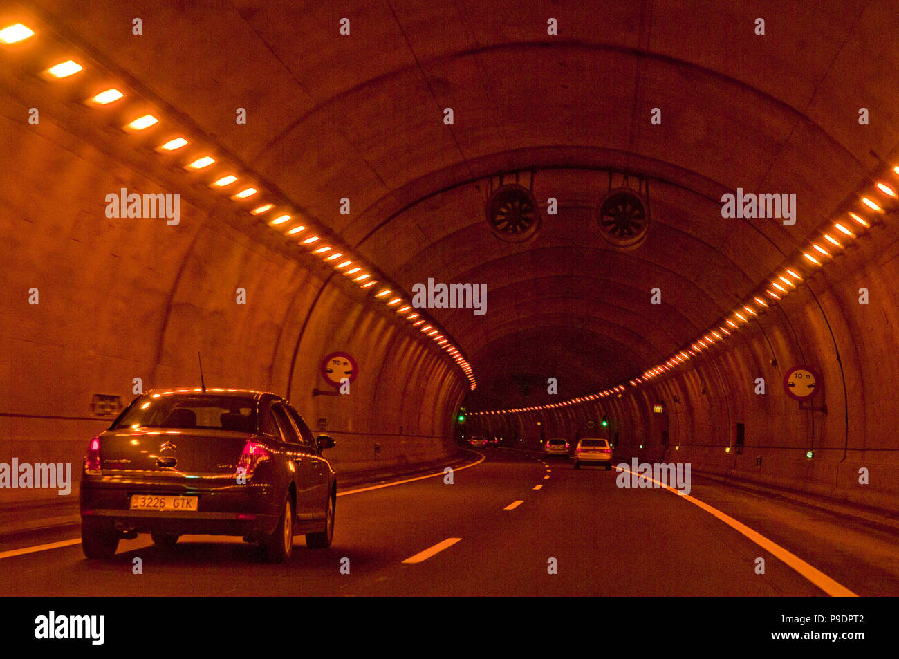 Tunnel, Cantabria-Meseta motorway. Cantabria, Spain. - Stock Image