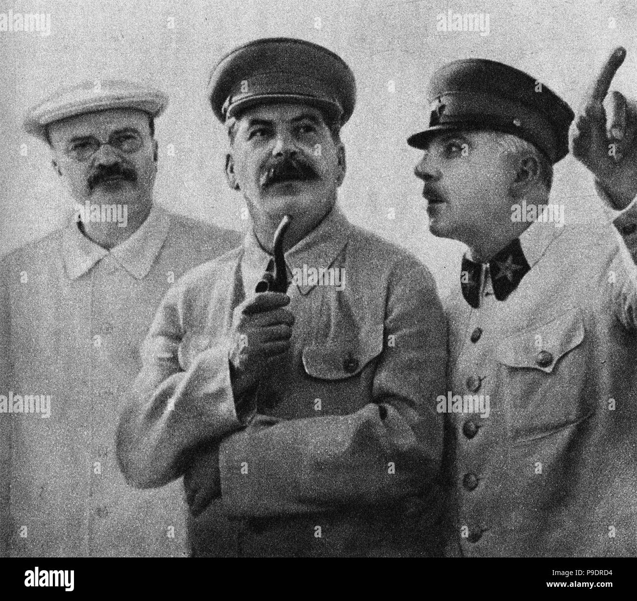 Vyacheslav Molotov, Joseph Stalin and Kliment Voroshilov on the Central Aerodrome, June 25, 1937. Museum: State Museum of the Political History of Russia, St. Petersburg. Stock Photo