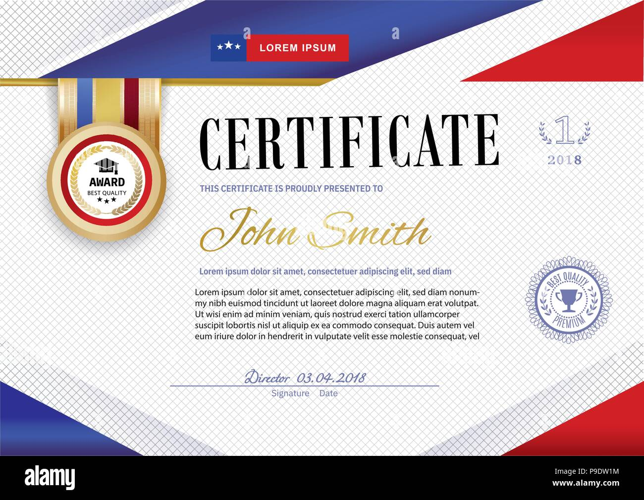 Official white certificate with red violet ribbons and education design elements, graduatioin cap, cup. Clean modern design.. Afstract background. Sheet in a cage. Colors of American flag and stars Stock Vector