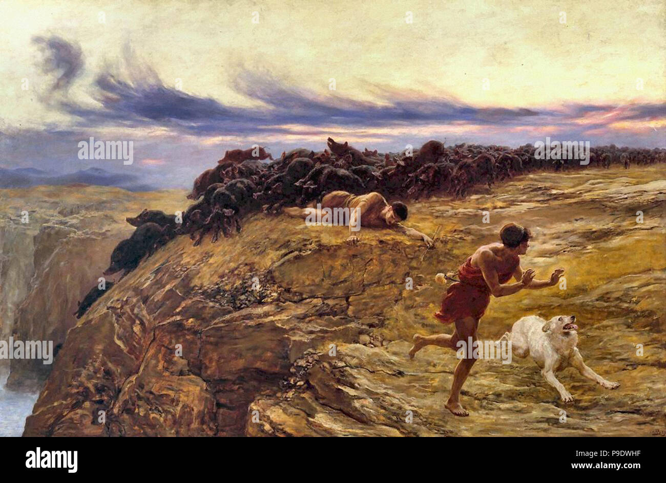 Rivière  Briton - the Miracle of the Gaderene Swine - Stock Image