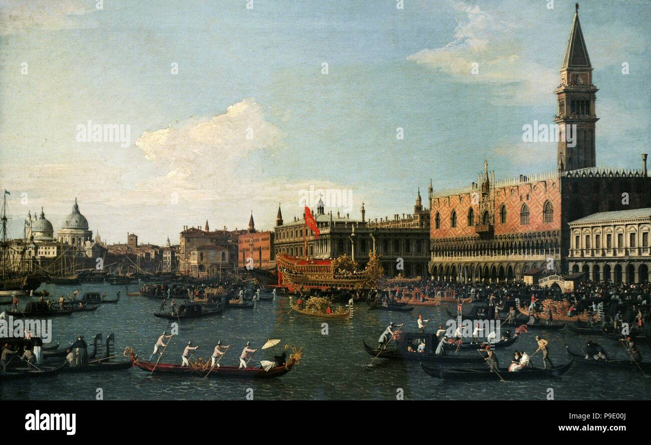 Canaletto (Giovanni Antonio Canal) (1697-1768). Italian painter. Return of Il Bucintoro on Ascension Day, 1745-1750. National Art Museum of Catalonia. Barcelona. Catalonia. Spain. - Stock Image
