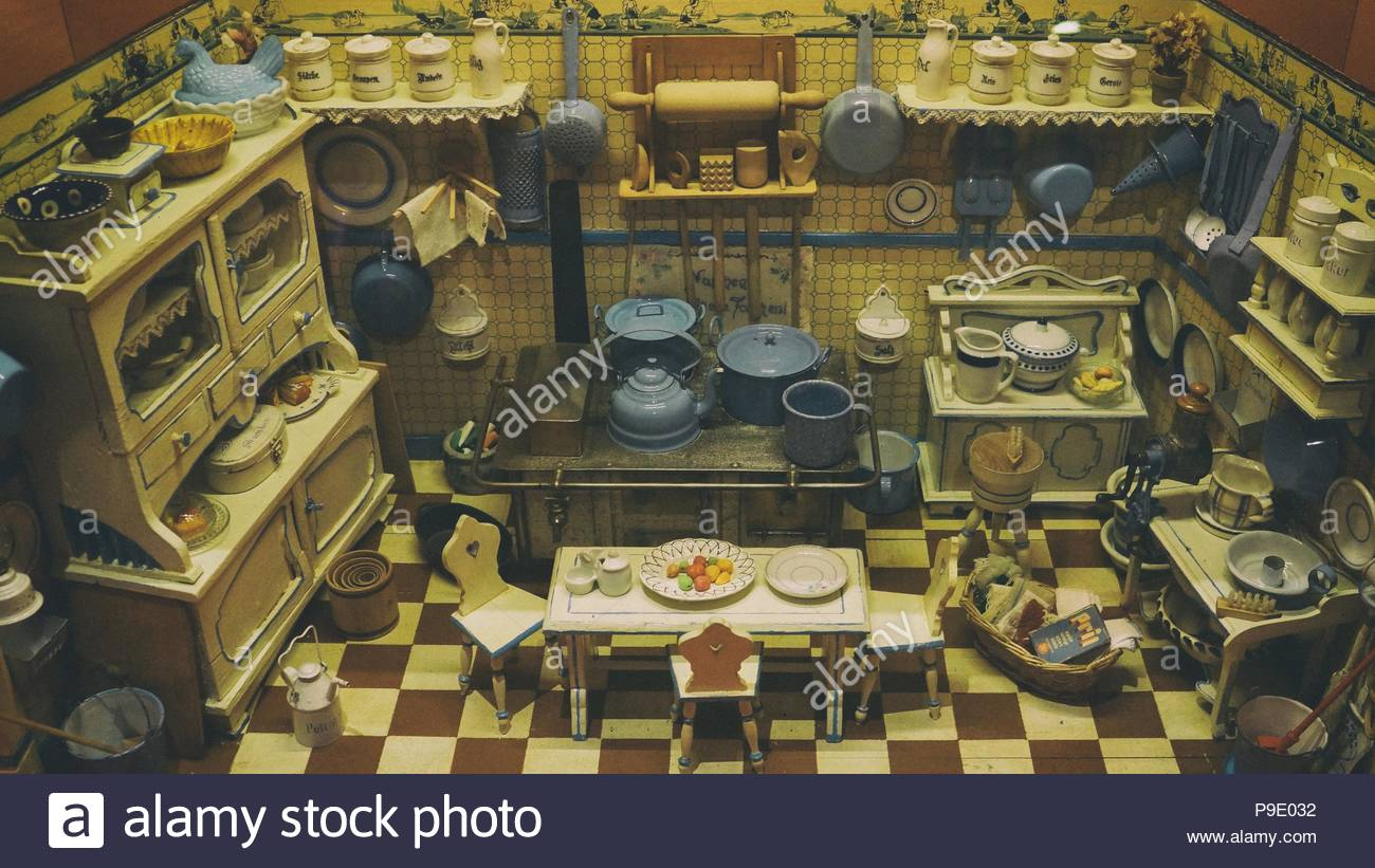 Dolls House, Old Dollu0027s House With Vintage Doll House Furniture, Dolls  House Kitchen With A Stove, Kitchen Cupboard, Kitchen Table And Kitchen  Chairs, ...