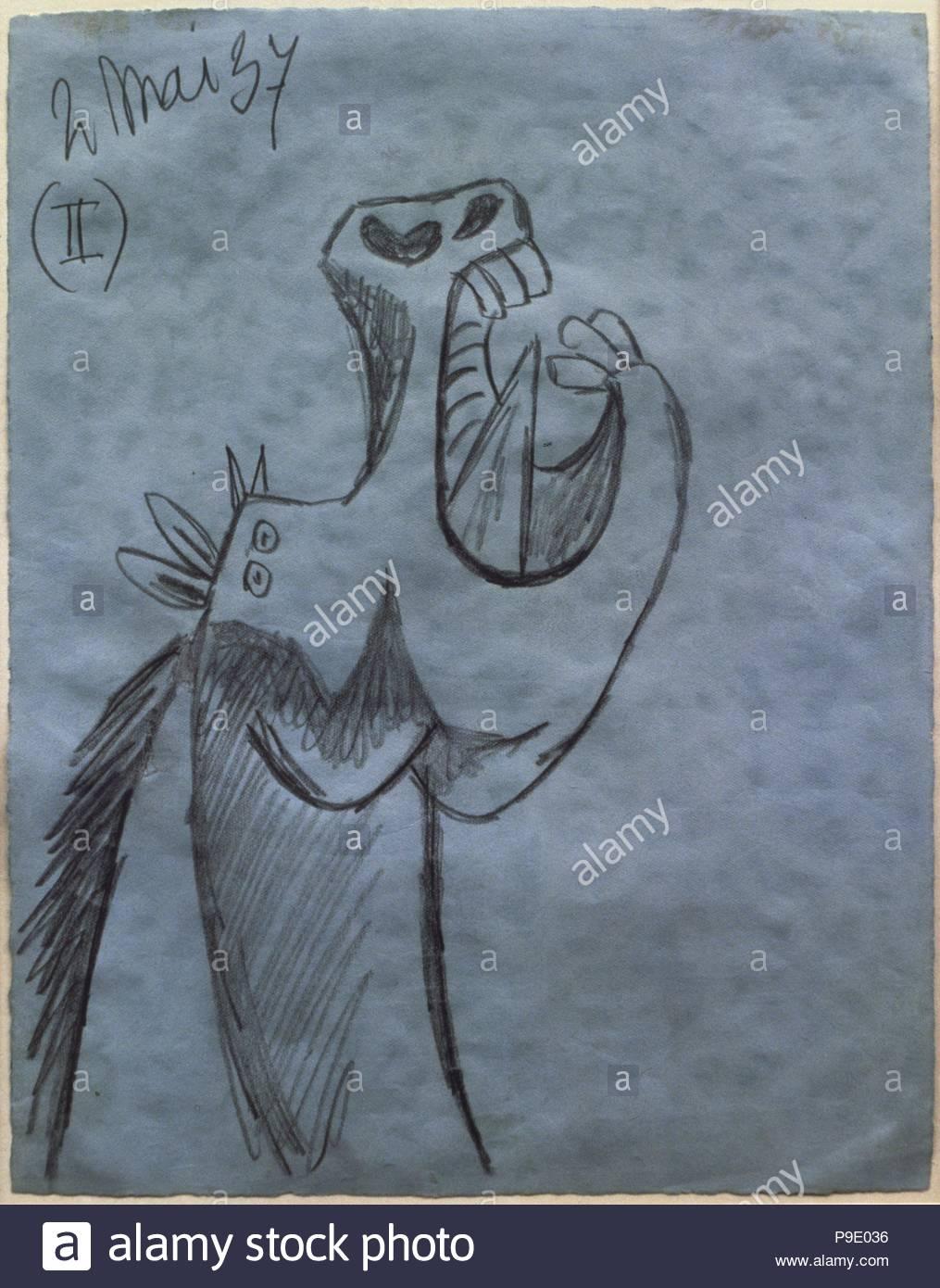 Pablo Picasso (Málaga, 1881-Mougins, 1973). Pintor español. Estudio para la cabeza del caballo (II) para 'El Guernica' (2 de mayo de 1937). Obra inspirada en un episodio de la guerra civil española. Grafito sobre papel azul (26.9 x 21 cm). Museo Reina Sofía. Madrid. España. Picasso. Study for the head of horse for 'Guernica'. Graphite on blue paper. - Stock Image