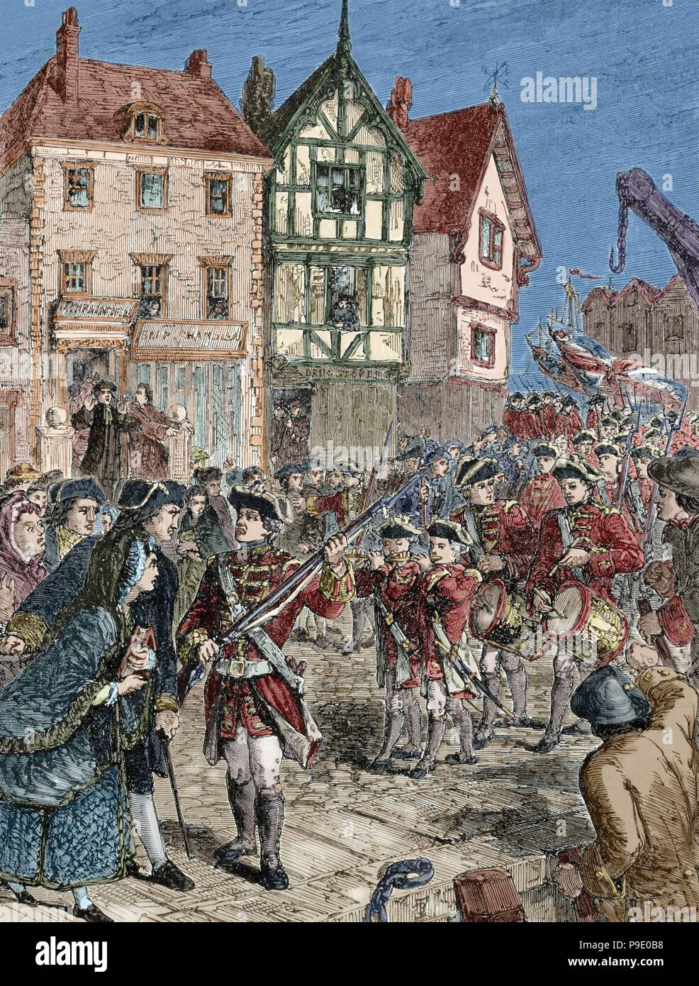 American Revolutionary War (1775-1783). Boston. Citizens hostile with the British soldiers. Engraving. 19th century. Colored. Stock Photo
