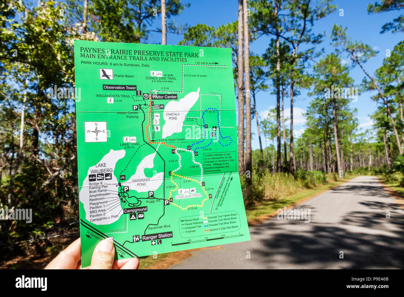 Florida Gainesville Micanopy Paynes Prairie Ecopassage Nature Preserve State Park map guide folder National Natural Landmark conservation restoration - Stock Image