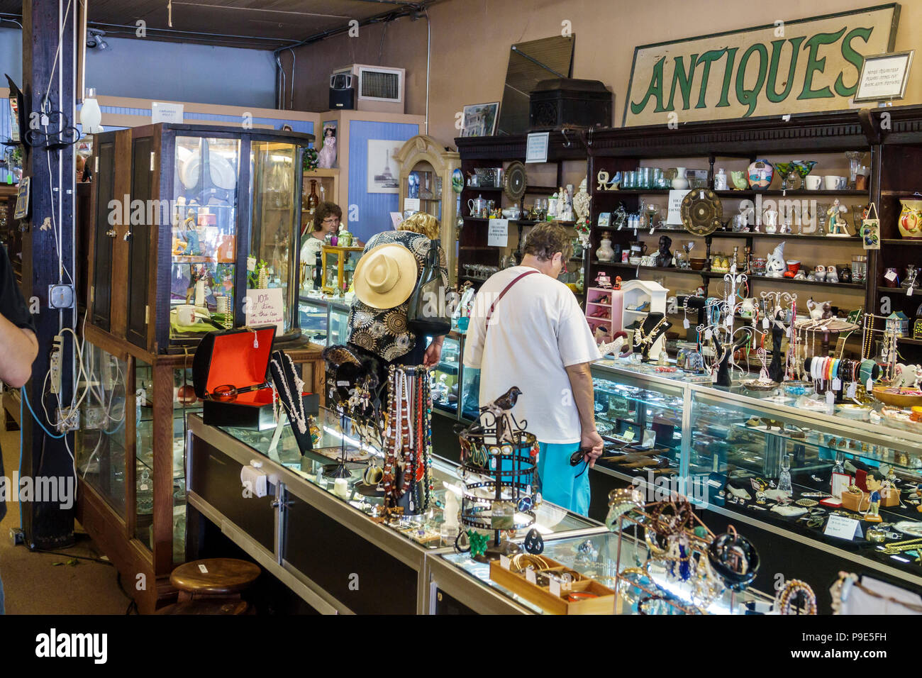 Florida Micanopy Fall Harvest Festival annual small town community event buying selling shopping Micanopy Canopy antiques collectibles store display b - Stock Image