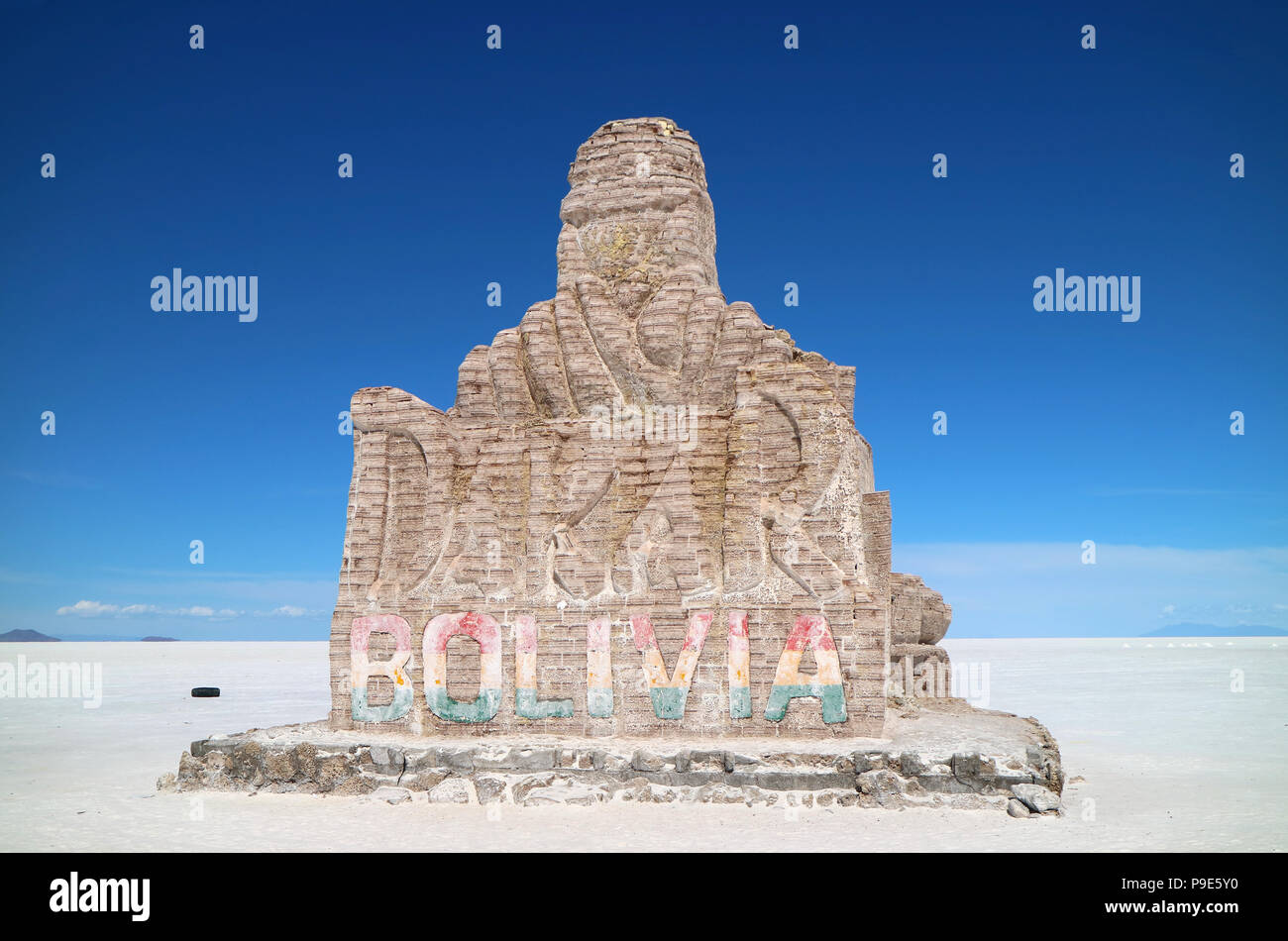 Dakar Rally monument made from salt on the Uyuni salt flats, Potosi, Bolivia, South America - Stock Image