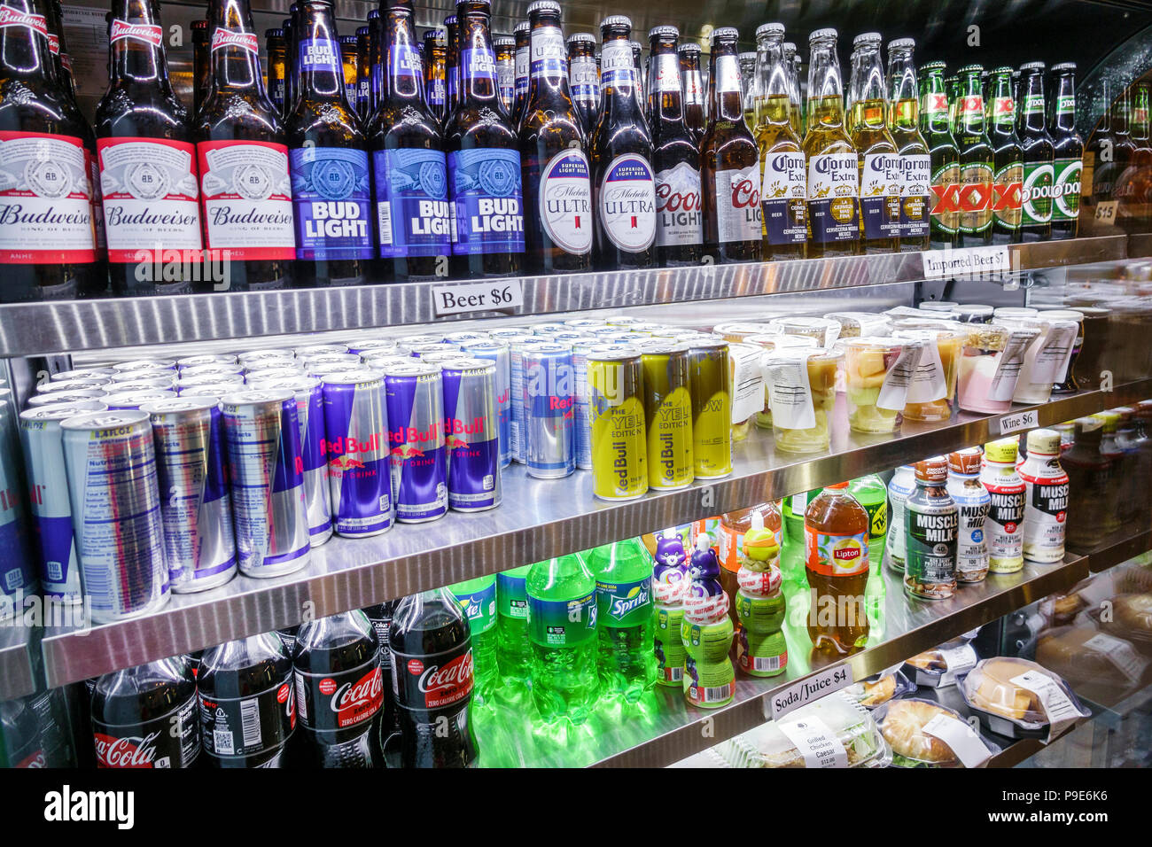 Orlando Florida Doubletree by Hilton Orlando SeaWorld hotel property grounds market cold drinks refrigerated case beer Budweiser brand Red Bull soda Stock Photo