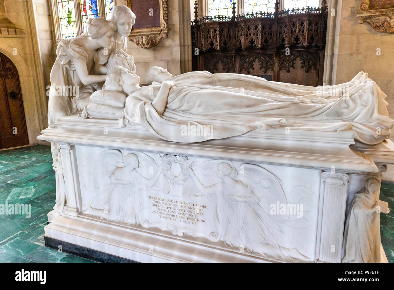 White marble tomb of 1st Marquess Curzon and his wife Mary designed by G F Bodley in 1906 in the church of All Saints at Kedleston, Derbyshire UK - Stock Image