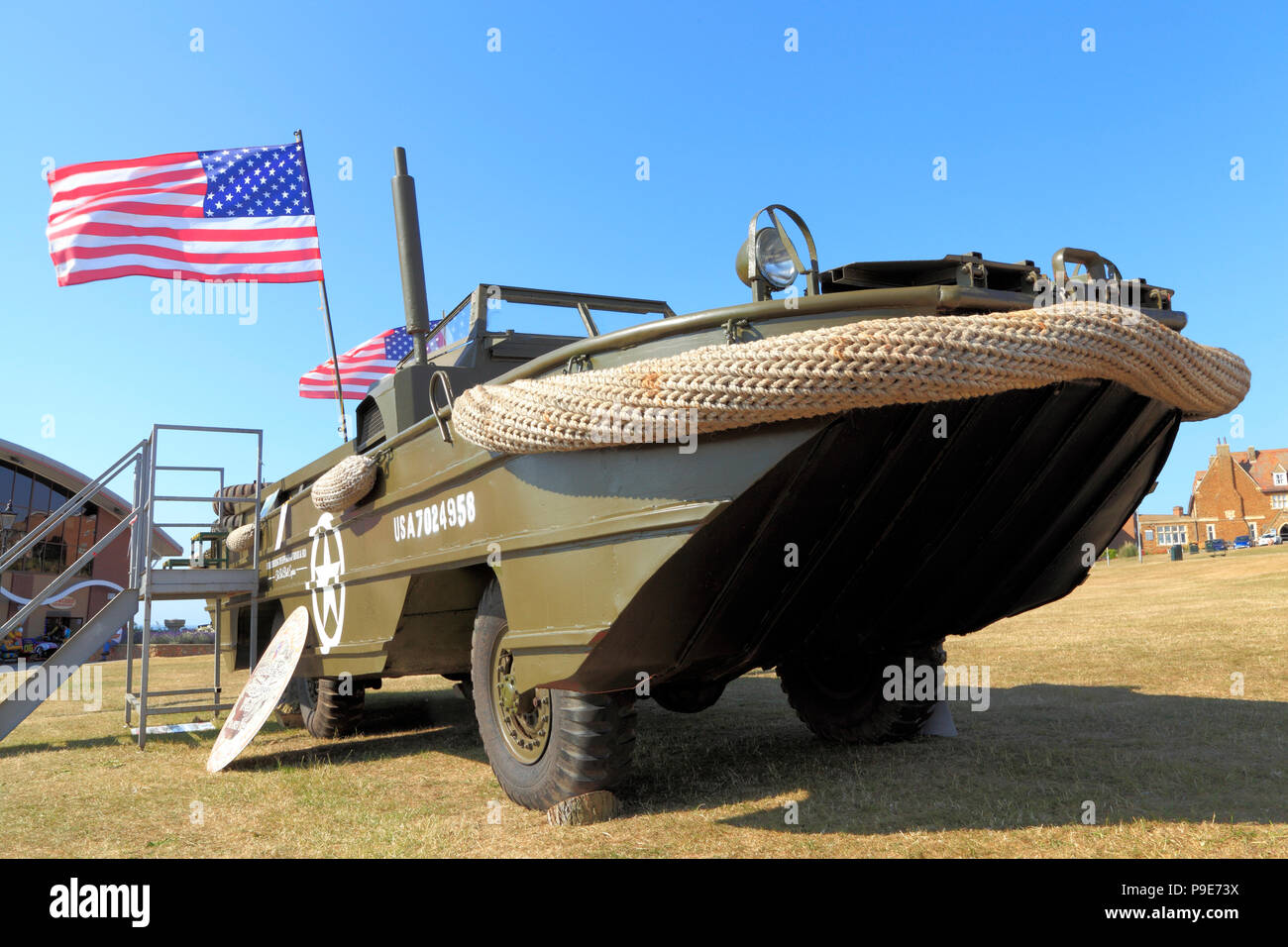 U.S. Second World War, DUKW, amphibious , military, vehicle, WW2, Stars and Stripes, American, Flag - Stock Image