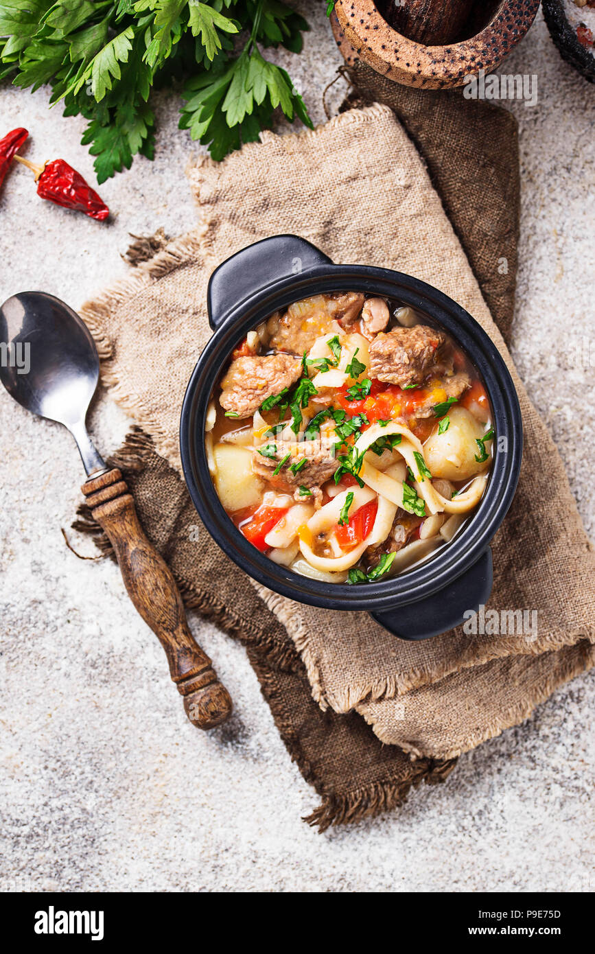 Traditional oriental uzbek soup lagman  - Stock Image