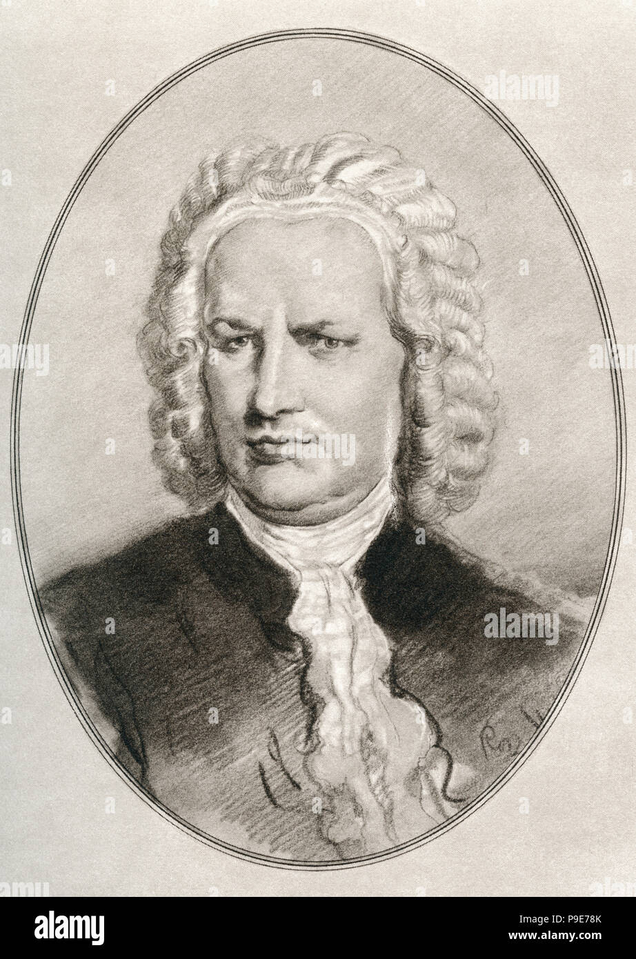 Johann Sebastian Bach, 1685 – 1750.  Composer and musician of the Baroque period.  Illustration by Gordon Ross, American artist and illustrator (1873-1946), from Living Biographies of Great Composers. - Stock Image