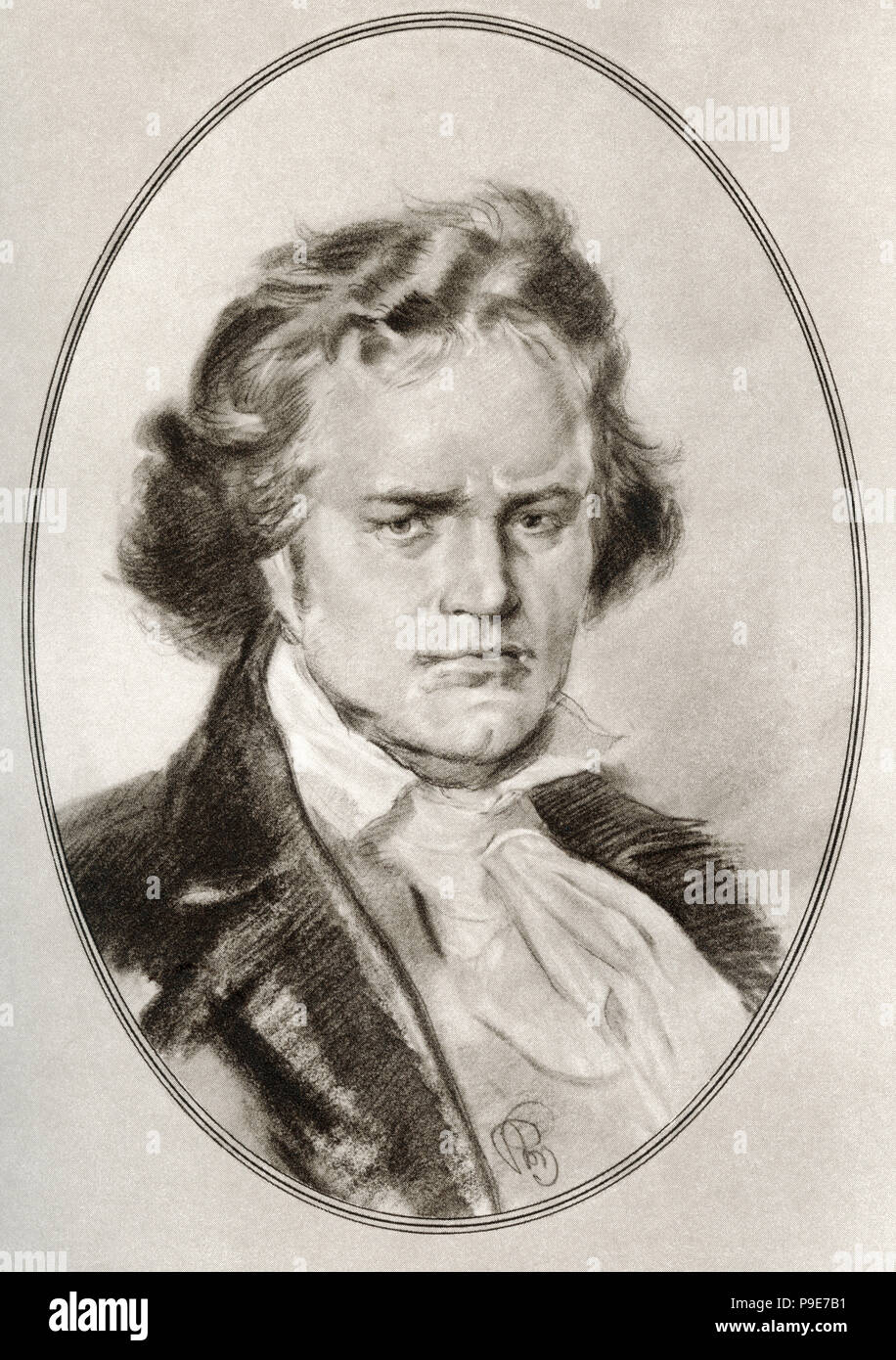Ludwig van Beethoven, 1770 - 1827.  German composer and pianist.   Illustration by Gordon Ross, American artist and illustrator (1873-1946), from Living Biographies of Great Composers. - Stock Image