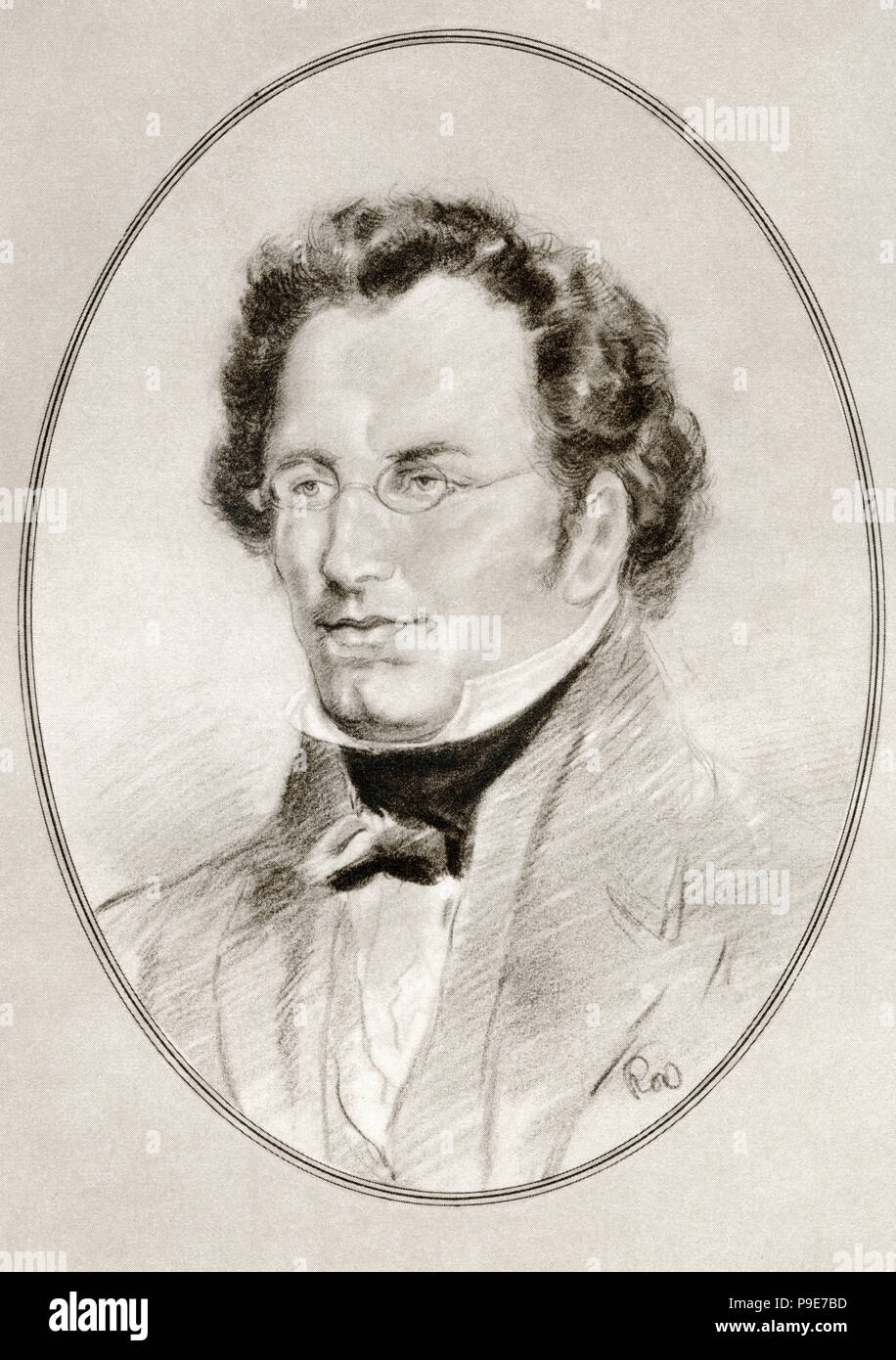 Franz Peter Schubert, 1797 – 1828.  Austrian composer.   Illustration by Gordon Ross, American artist and illustrator (1873-1946), from Living Biographies of Great Composers. - Stock Image