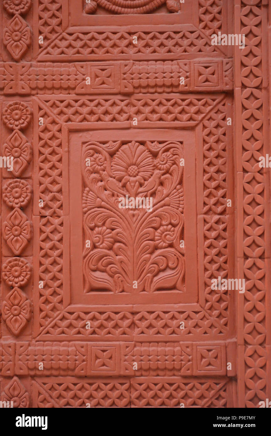 Terracotta panel at the birthplace structure of Bankim Chandra Chatterjee at Naihati, North 24 Parganas, West Bengal, India - Stock Image