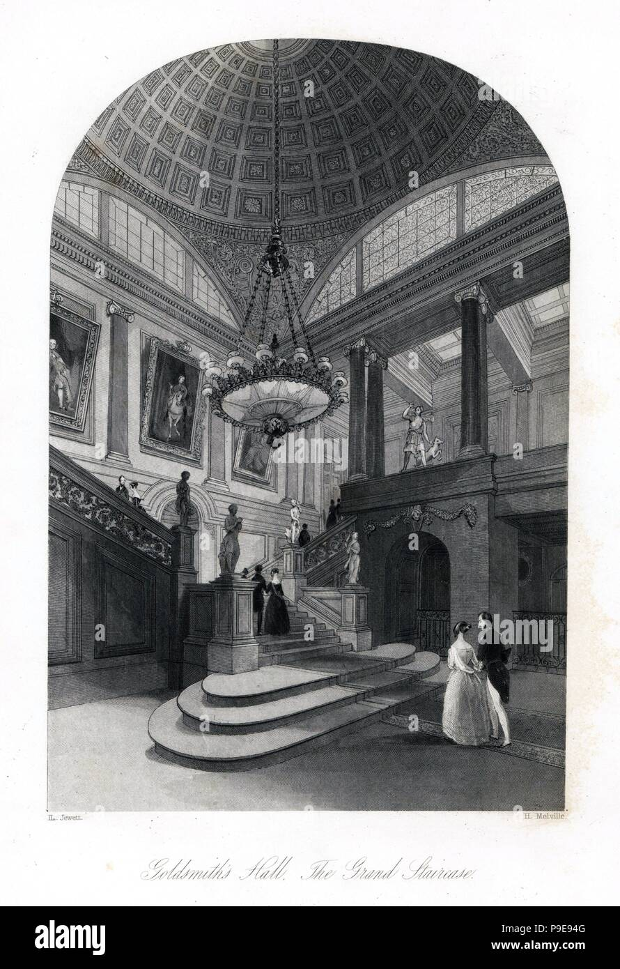 The grand staircase, Goldsmith's Hall. Steel engraving by Henry Melville after an illustration by Llewellyn Jewitt from London Interiors, Their Costumes and Ceremonies, Joshua Mead, London, 1841. - Stock Image