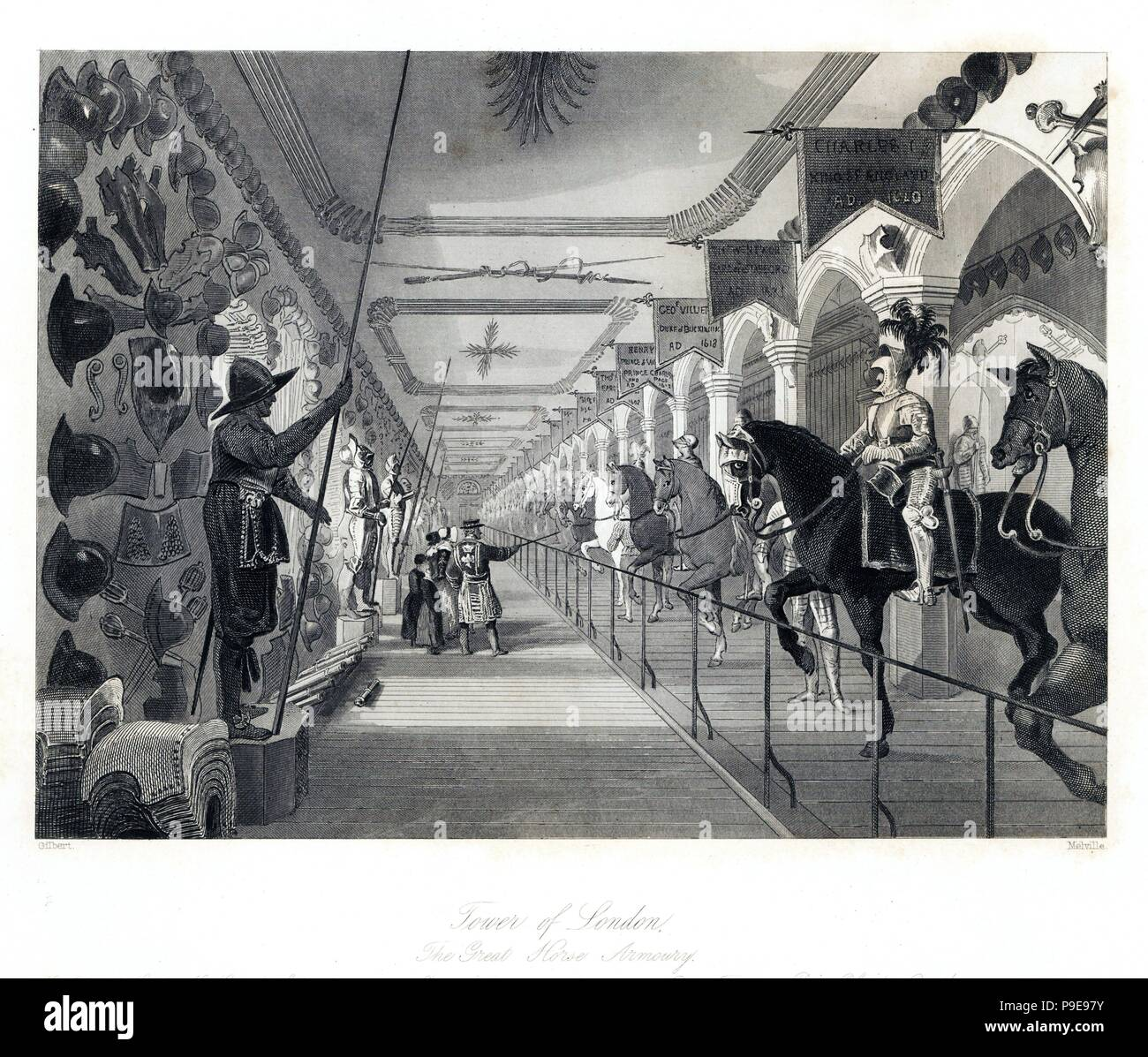 The Great Horse Armoury in the Tower of London. Steel engraving by Henry Melville after an illustration by Gilbert from London Interiors, Their Costumes and Ceremonies, Joshua Mead, London, 1841. - Stock Image