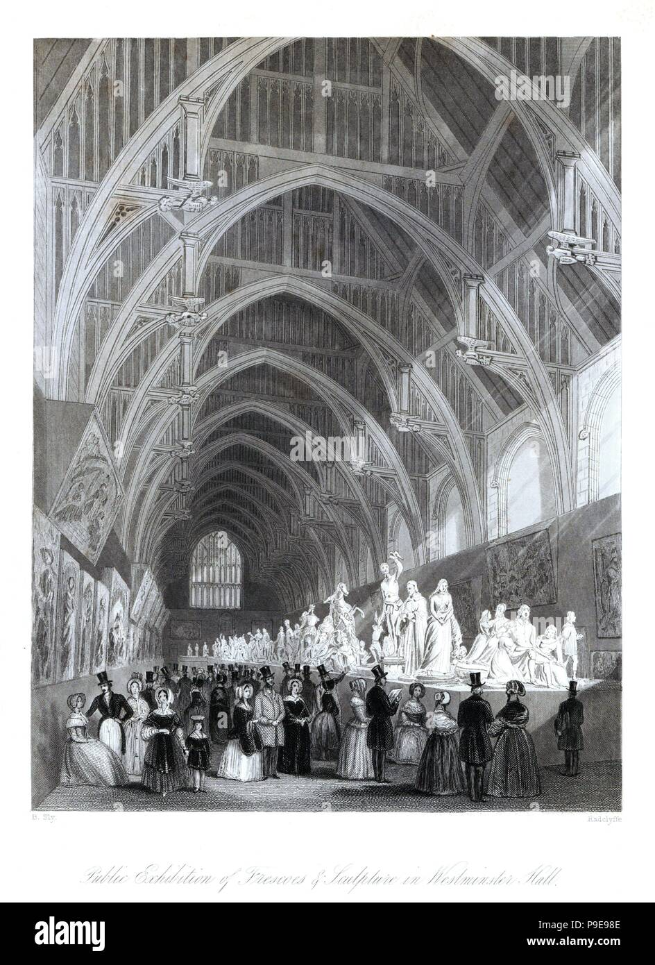Victorian tourists at an exhibition of frescos, paintings and sculpture in Westminster Hall, 1844. Steel engraving by Radclyffe after an illustration by B. Sly from London Interiors, Their Costumes and Ceremonies, Joshua Mead, London, 1841. - Stock Image