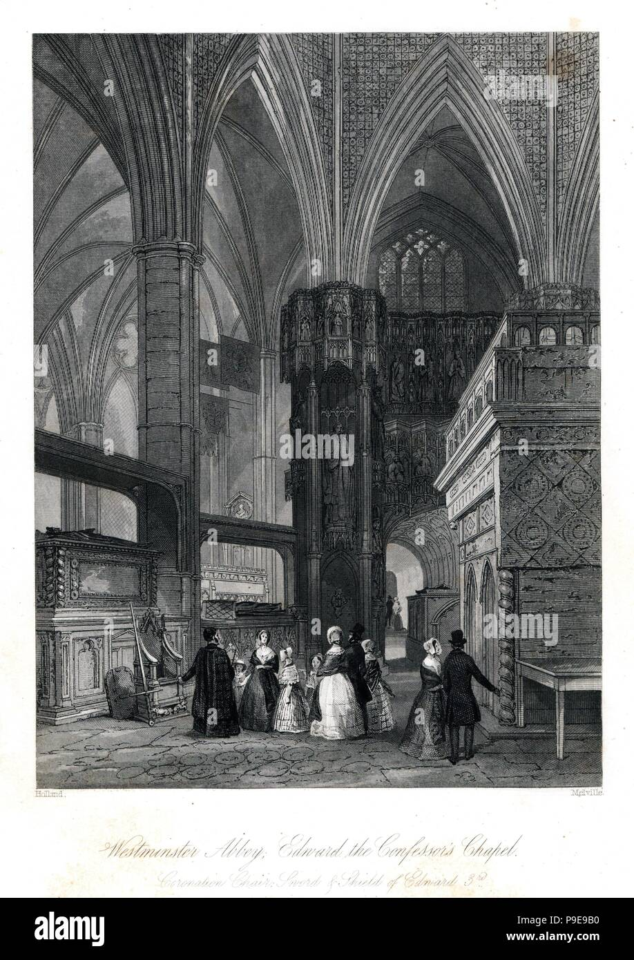 Coronation chair, sword and shield of King Edward III in Edward the Confessor's Chapel, Westminster Abbey. Steel engraving by Henry Melville after an illustration by Holland from London Interiors, Their Costumes and Ceremonies, Joshua Mead, London, 1841. - Stock Image