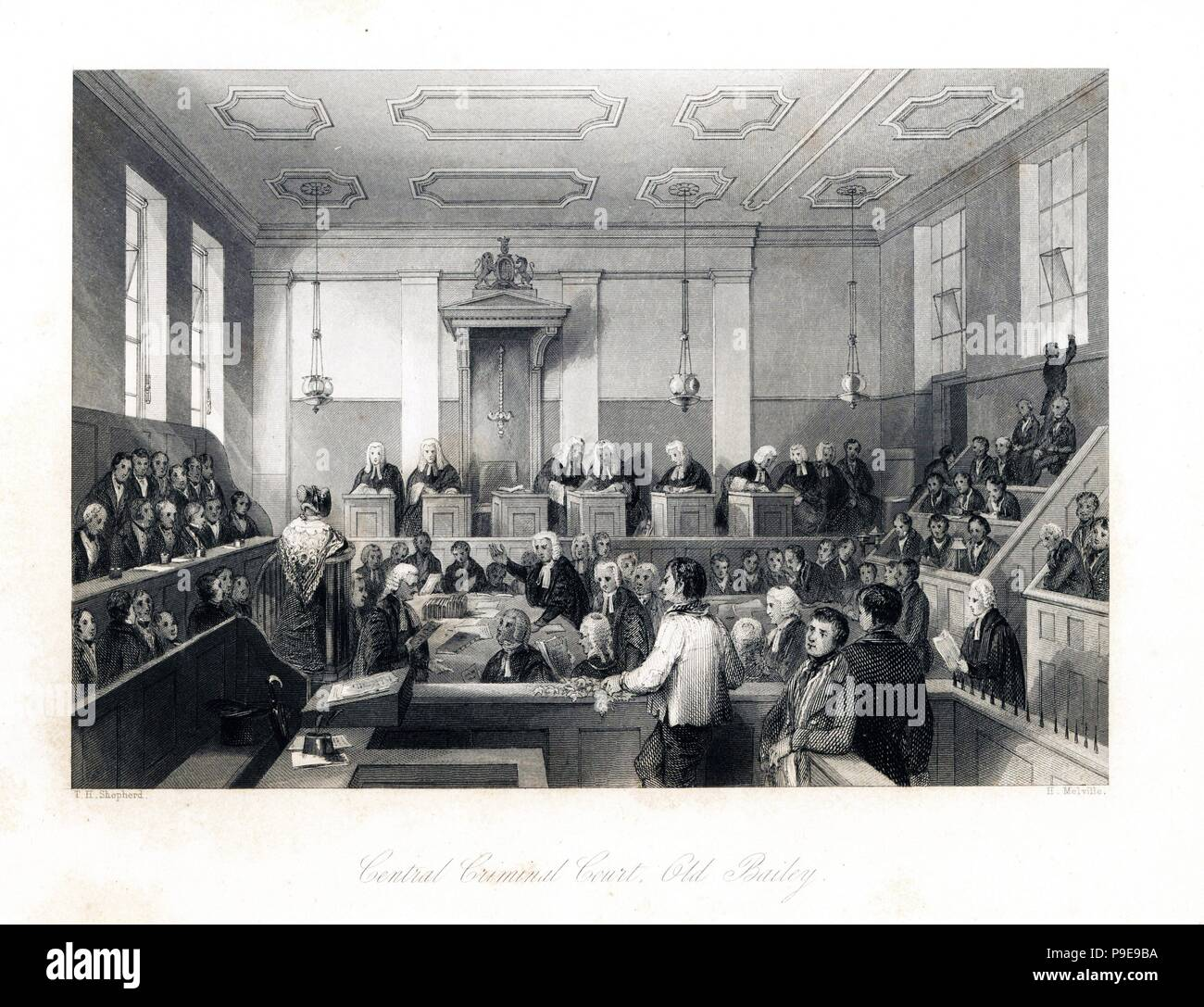 Lawyers question a lady witness before judge and jury at the Central Criminal Court, Old Bailey. Steel engraving by Henry Melville after an illustration by Thomas Hosmer Shepherd from London Interiors, Their Costumes and Ceremonies, Joshua Mead, London, 1841. - Stock Image