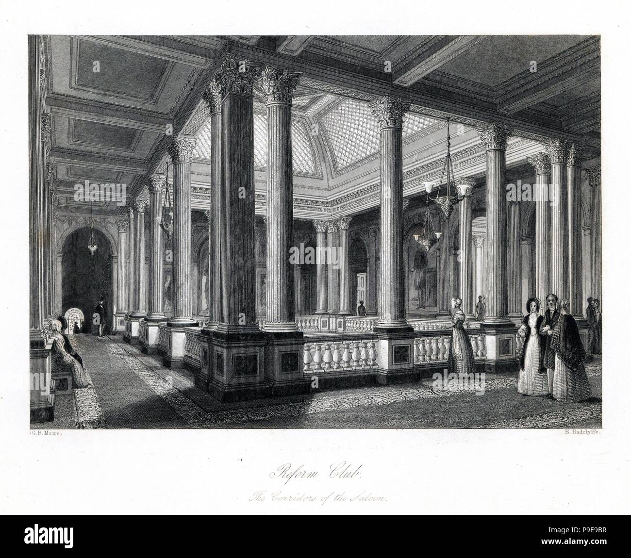 The Saloon in the Reform Club, with its Ionic columns, tesselated pavement, vaulted skylight and Scagliola covered walls. Steel engraving by E. Radclyffe after an illustration by G.B. Moore from London Interiors, Their Costumes and Ceremonies, Joshua Mead, London, 1841. - Stock Image