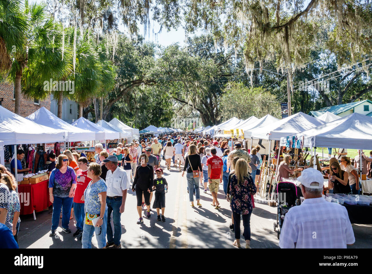 Florida Micanopy Fall Harvest Festival annual small town community event booths stalls vendors buying selling crowd strolling families - Stock Image