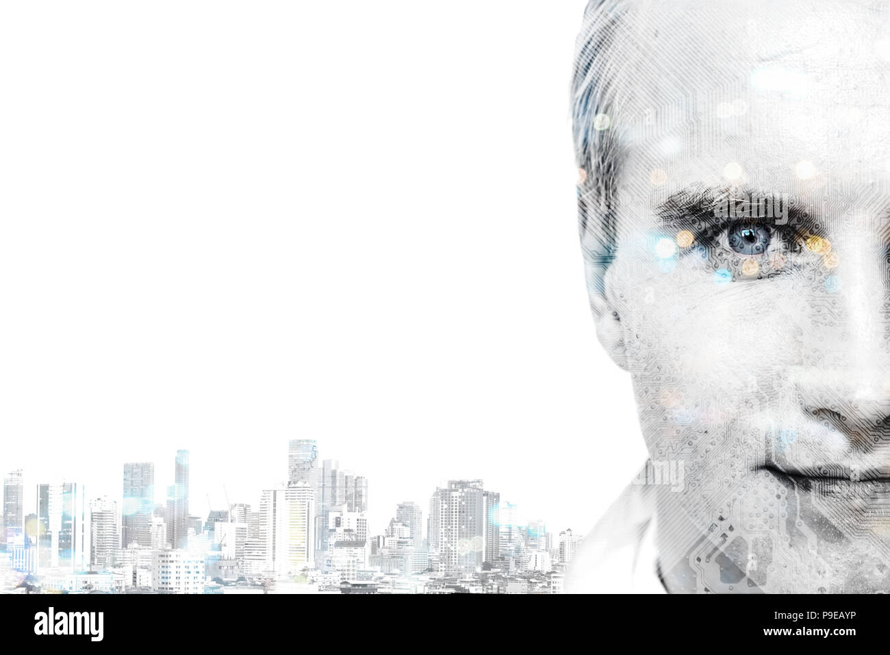 Space Transformation Stock Photos Circuit Board And Binary Code Forming A Mysterious Night Landscape Of Digital Disruption Every Industry Technology Artificial Intelligence Concept Double Exposure Male Face
