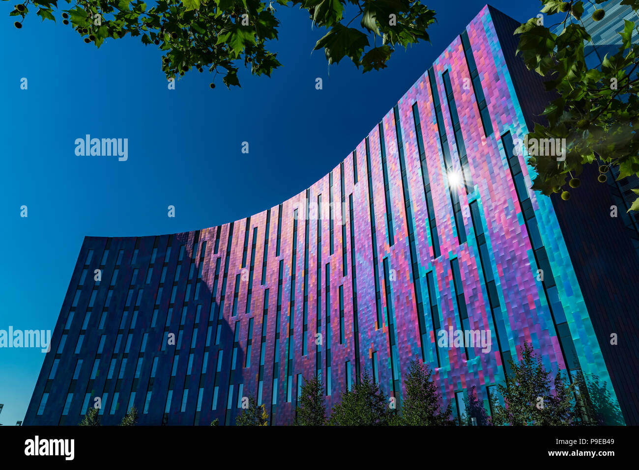 London, UK - JULY 15 2018: The ExCeL Center, an exhibitions and international convention centre Bright and colourful facade of the Aloft Hotel - Stock Image